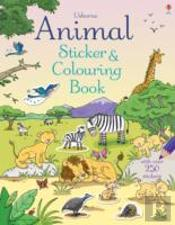 Animal Sticker And Colouring Book