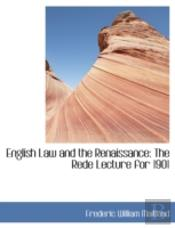 English Law And The Renaissance