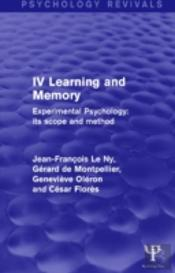 Experimental Psychology Its Scope And Method: Volume Iv (Psychology Revivals)