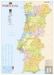 Mapa de Portugal - 2 Faces (80,5 x 111,5 cm) - Folha Plastificada