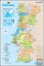 Mapa de Portugal Escolar - 2 Faces (27 x 40,5 cm) - Folha