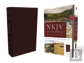 Nkjv Study Bible, Bonded Leather, Burgundy, Full-Color, Red Letter Edition, Comfort Print