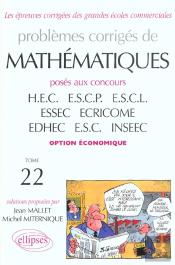 Problemes Corriges De Mathematiques Hec ; Option Eco T.22 ; Best Of 1998-2001