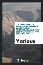 U.S. Department Of Agriculture Research And Extension Priorities